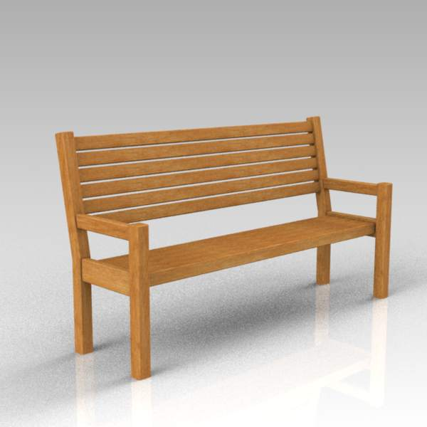 Wooden garden bench. V3 is not textured.