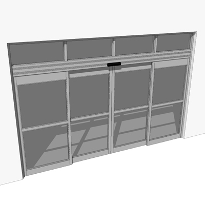 Silver storefront automatic dual sliding entry. Do....