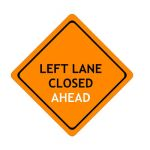 US Left Lane Closed construction sign; code W20-5L