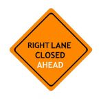 US Right Lane Closed construction sign; code W29-5...