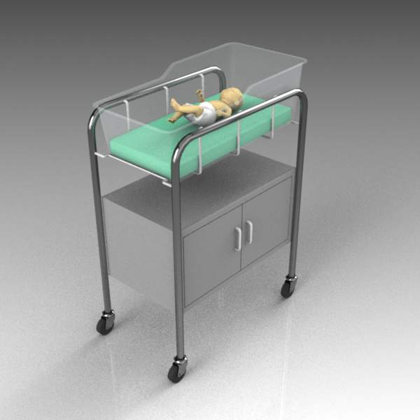 Hospital bassinet, empty and with 